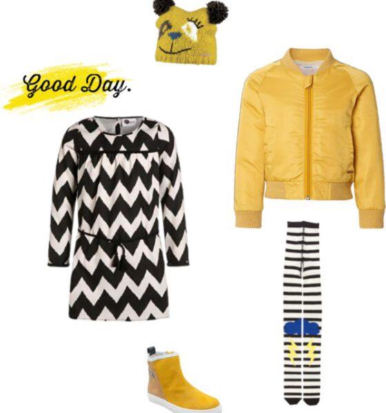 Stoere meisjes outfit met vlammend geel
